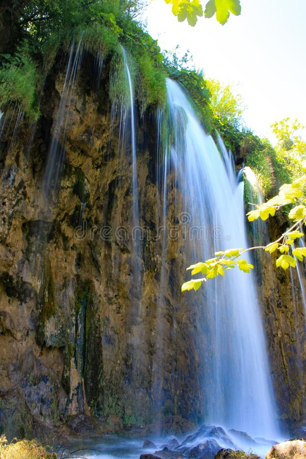 在Plitvice湖的瀑布在克罗地亚 免版税图库摄影