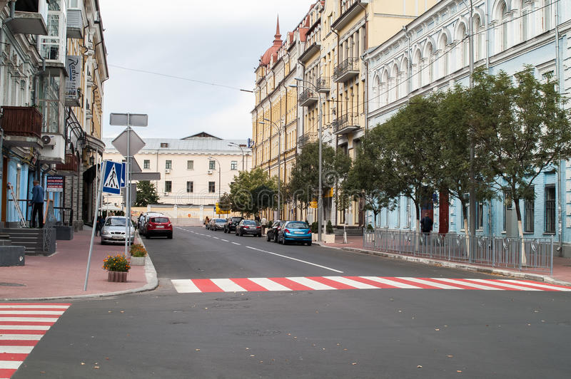 在Podil,基辅的街道 免版税图库摄影