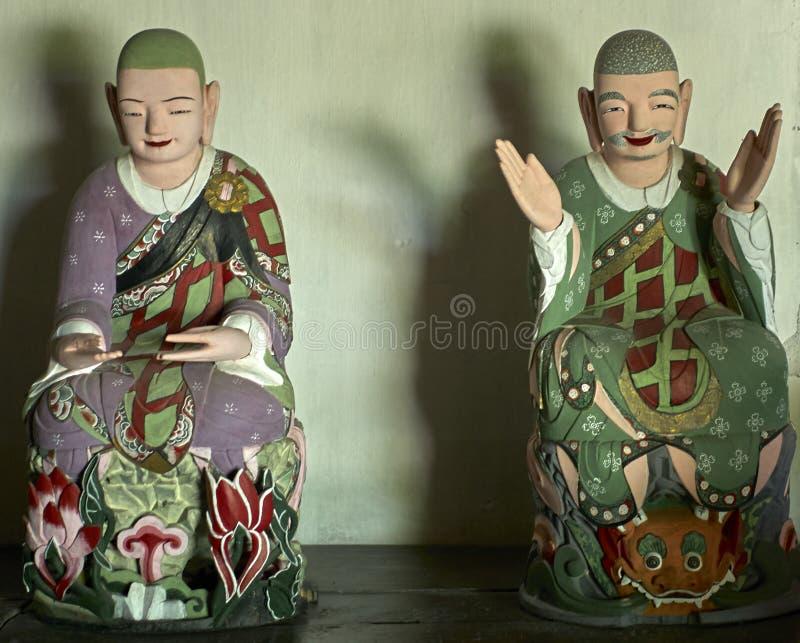 在Pohyon寺庙北朝鲜的佛教雕象 免版税库存图片