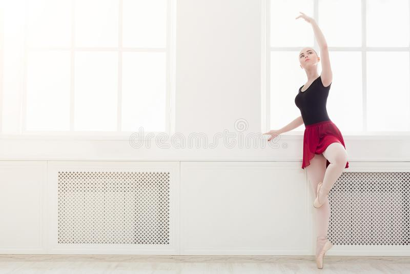 在pointe的美好的芭蕾舞女演员舞蹈 免版税库存图片