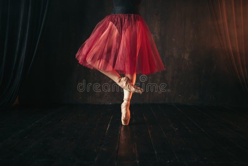 在pointes的女性跳芭蕾舞者腿 库存照片