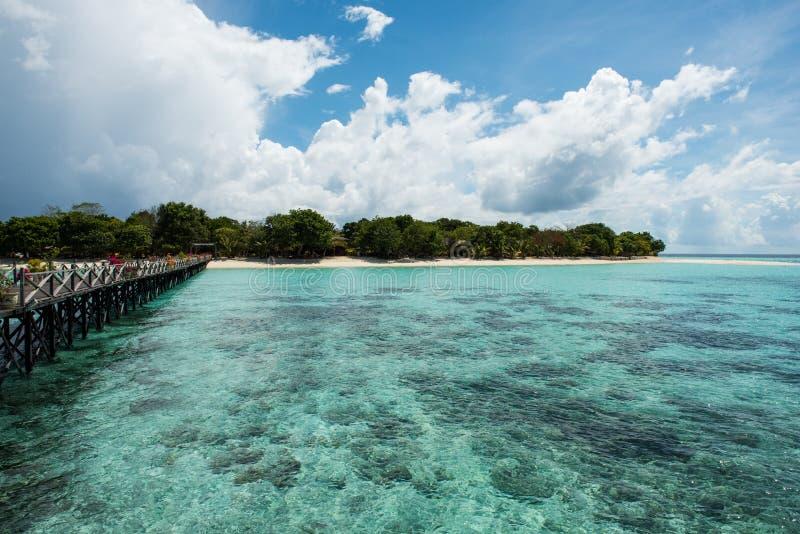 在Pom Pom海岛上的一个码头 图库摄影