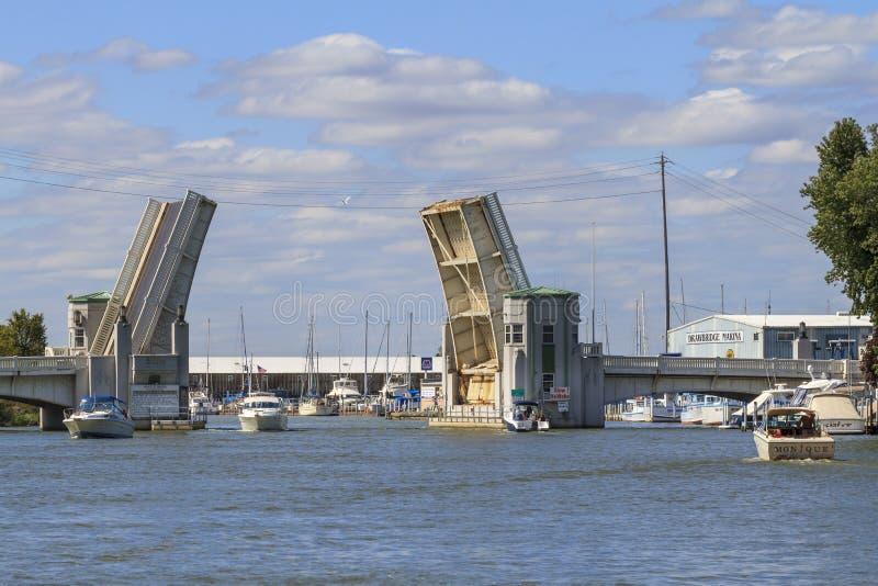 在Portage河的吊桥 免版税库存照片