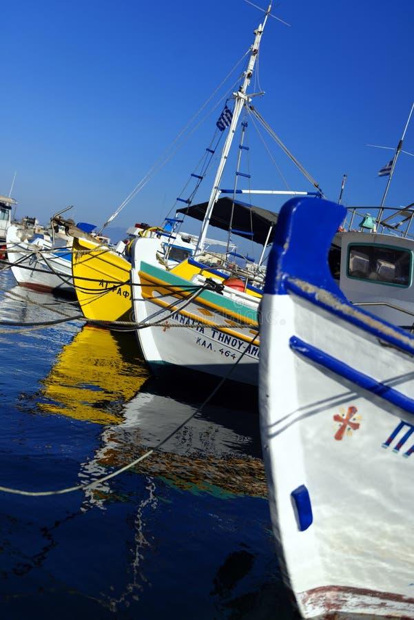 在Pothia的渔船 免版税图库摄影