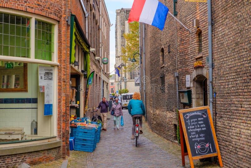 在Prinsenhof旁边的美丽的历史的胡同在德尔福特,荷兰 图库摄影