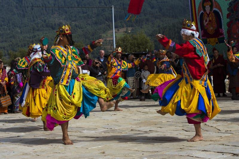 在Puja,班坦,不丹中部的可汗舞蹈 图库摄影