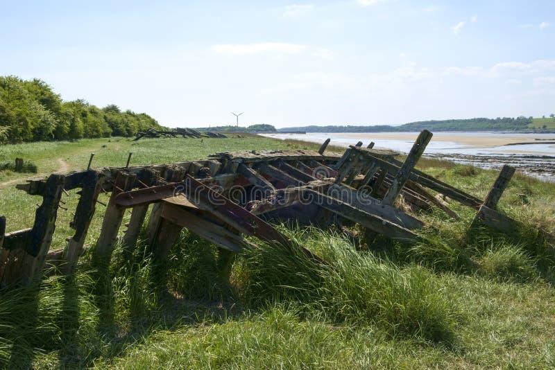 在Purton废船的历史的感潮河银行侵蚀保护计划,格洛斯特郡,英国 库存图片