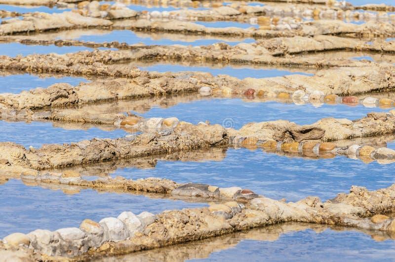 在Qbajjar在戈佐,马耳他附近盐溶平底锅。 图库摄影