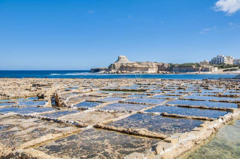 在Qbajjar附近盐溶平底锅在戈佐岛,马耳他。 库存照片