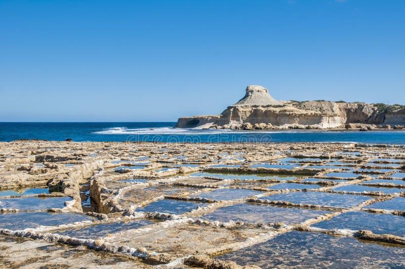 在Qbajjar附近盐溶平底锅在戈佐岛,马耳他。 库存图片