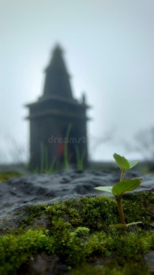 在Raigad堡垒的一个有雾的早晨! 免版税库存图片