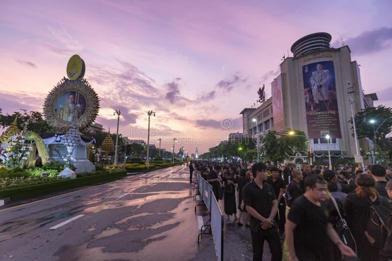 在Rama 9葬礼的桃红色日落 免版税库存照片
