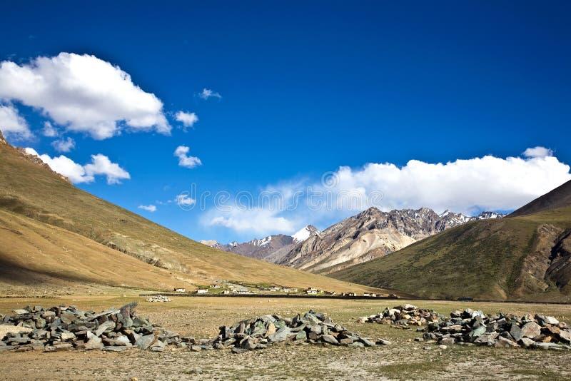 在Rangdum修道院, Zanskar谷,拉达克,查谟和克什米尔,印度附近的一个风景 免版税库存照片