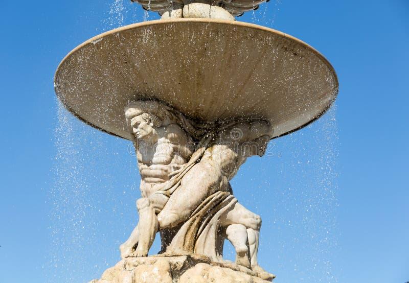 在Residentplatz的巴洛克式的住所喷泉在萨尔茨堡 免版税库存图片