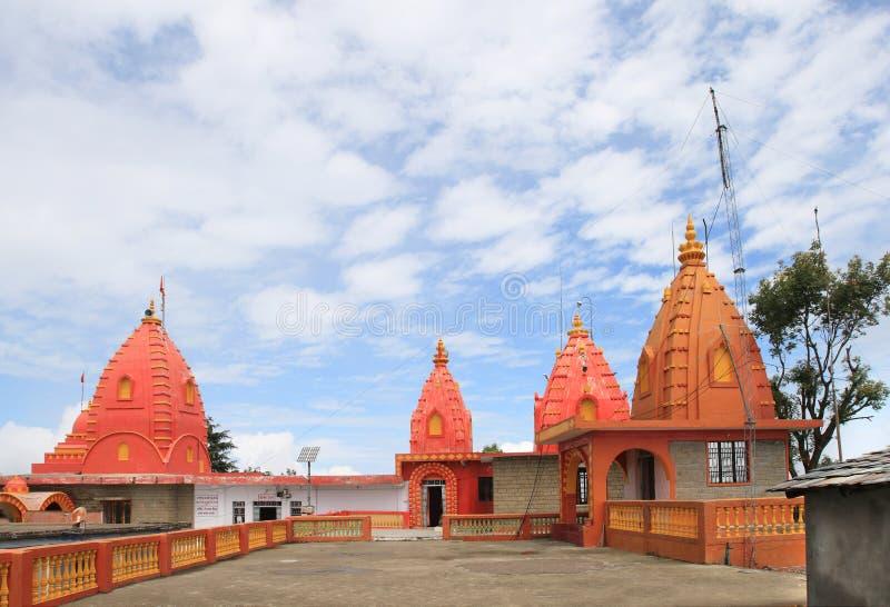 在Rewalsar湖(Tso佩玛莲花)附近的奈纳德维寺庙在Rewalsar镇,印度 库存图片