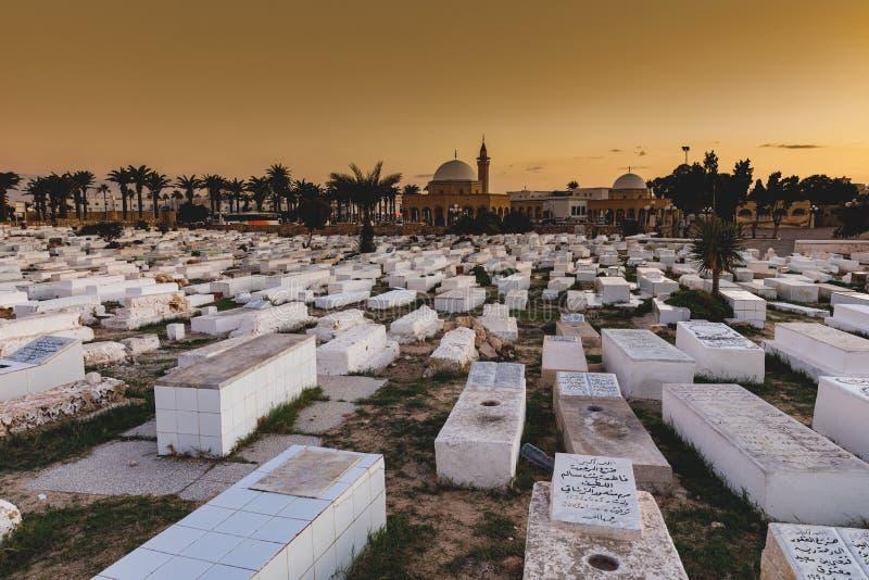 在Ribat旁边的阿拉伯公墓在Monastir,突尼斯 免版税库存图片