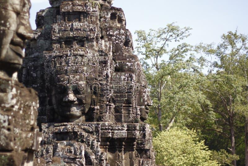 在riep siem寺庙附近的bayon柬埔寨 免版税图库摄影