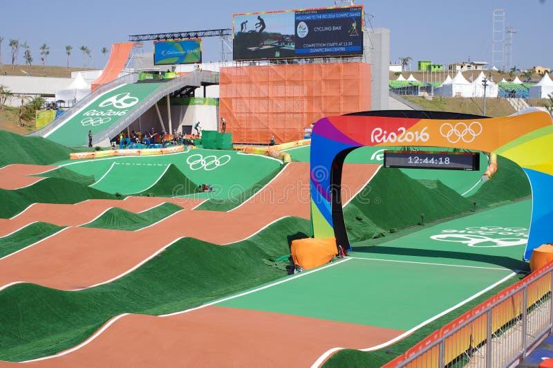 在Rio2016期间的奥林匹克BMX中心 免版税库存照片