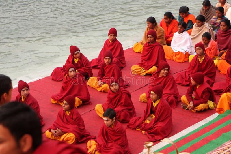 在Rishikesh的仪式 图库摄影