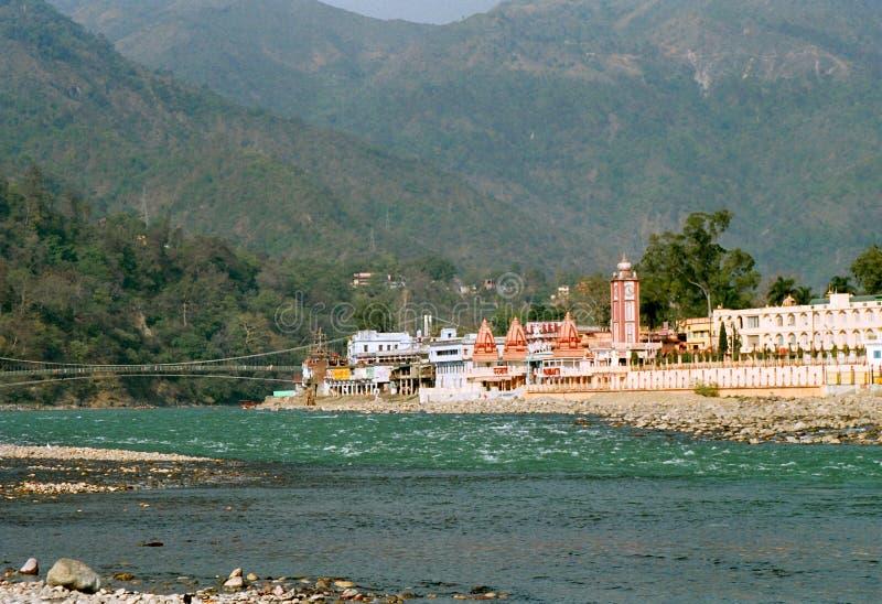 在rishikesh附近的帮会印度 免版税图库摄影