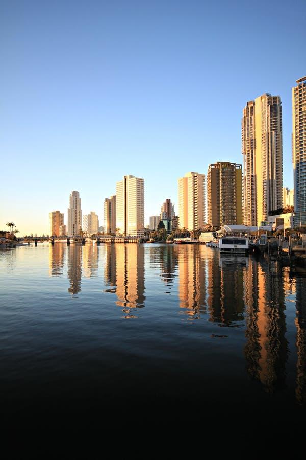 在riverview日落的都市风景 免版税库存照片