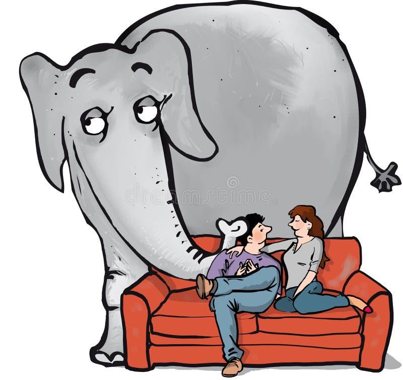 在room2的大象 皇族释放例证