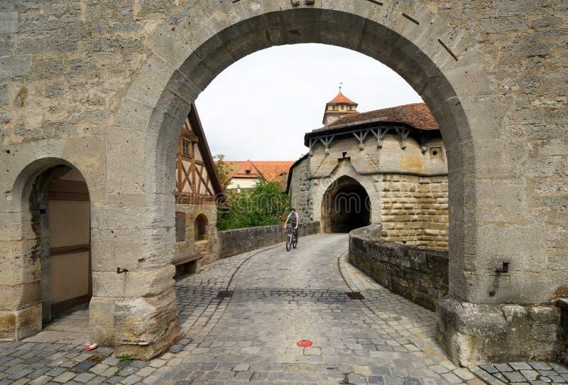 在Rothenburg的镇门 免版税库存照片