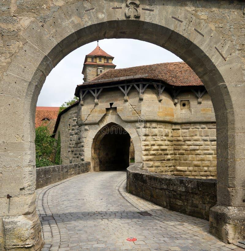 在Rothenburg的镇门 图库摄影