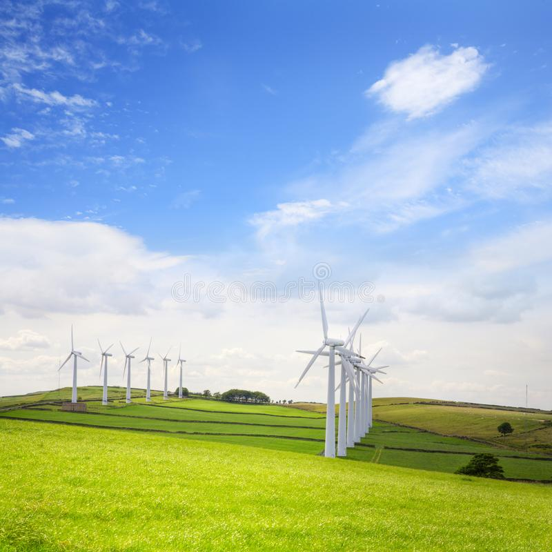 在Royd的风轮机停泊, Penistone,约克夏,英国 库存照片