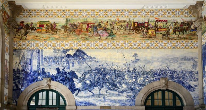 在São Bento火车站,波尔图,葡萄牙的Azulejo 免版税库存照片