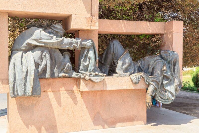 在S区域的雕刻的构成  Aini 杜尚别, Tajikis 免版税库存照片