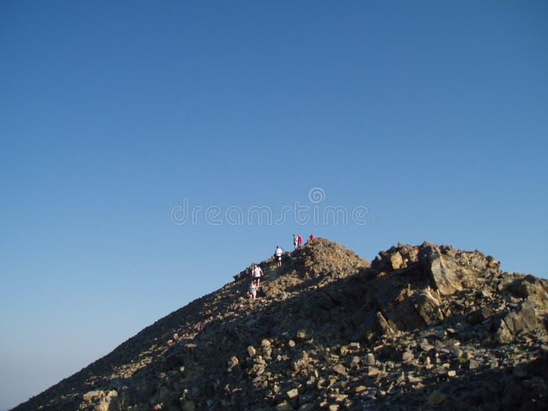 在Sacajawea峰顶的里奇赛跑者 库存图片