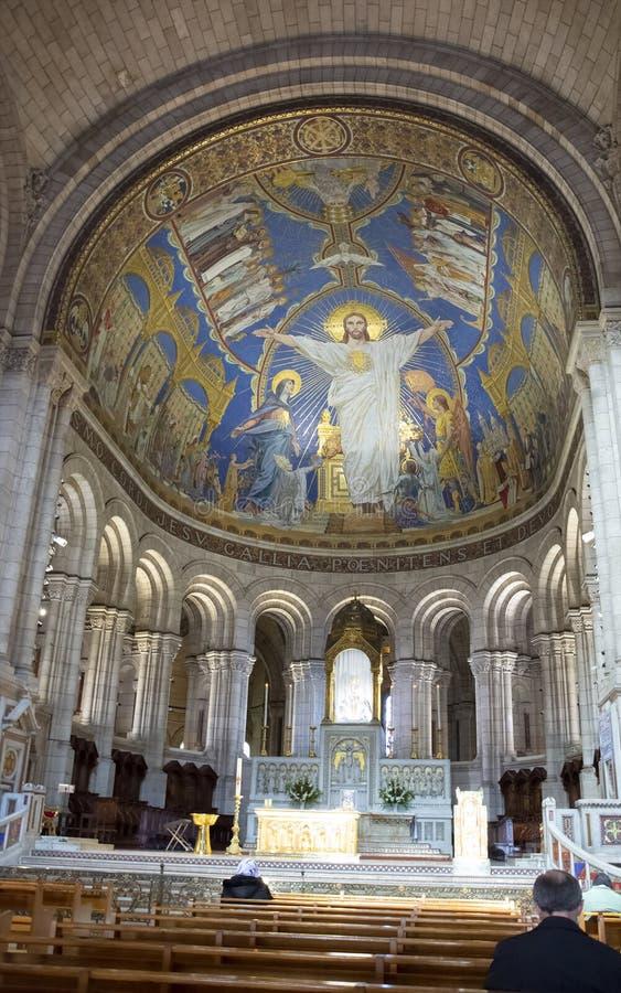 在Sacre-Coeur耶稣圣心蒙马特,巴黎,法国教会的大教堂的壁画  免版税库存照片