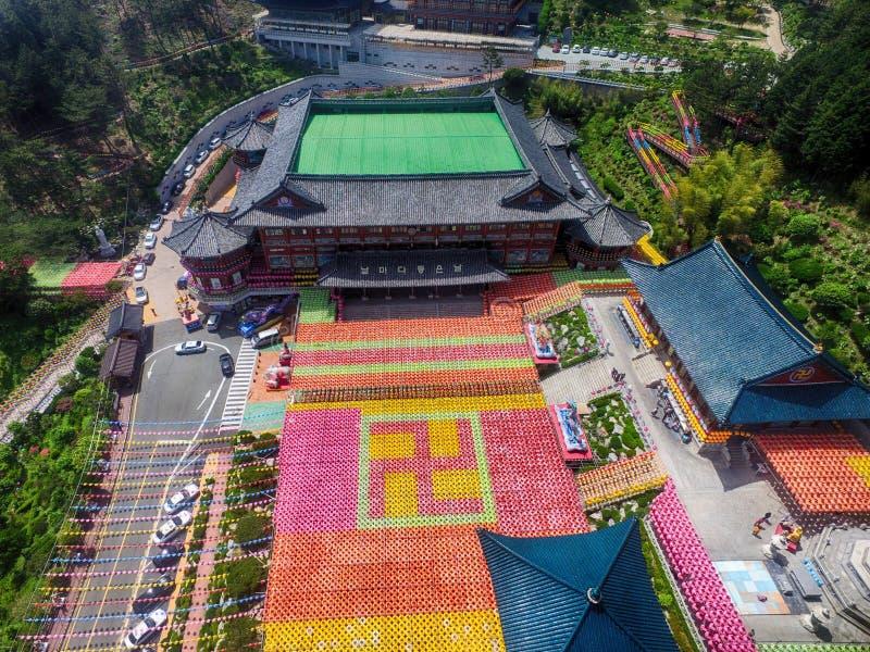 在Samgwangsa寺庙,釜山,韩国,亚洲的莲花灯节 免版税图库摄影