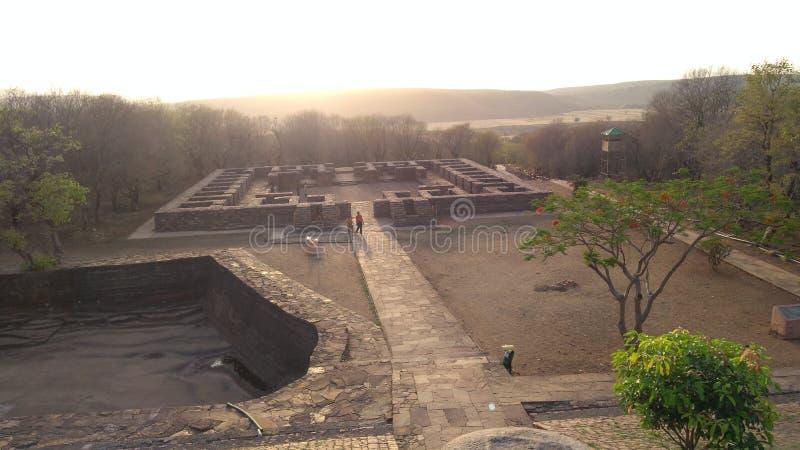 在sanchi的佛教纪念碑在日落期间 库存照片