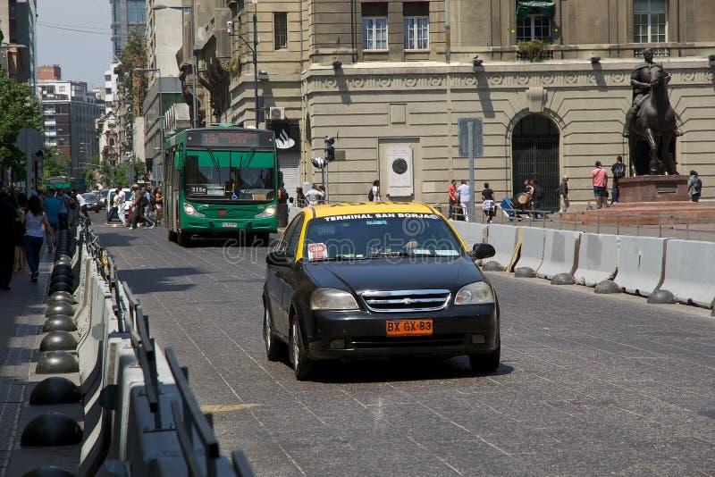 在santiagode智利,智利的公共交通工具 库存照片