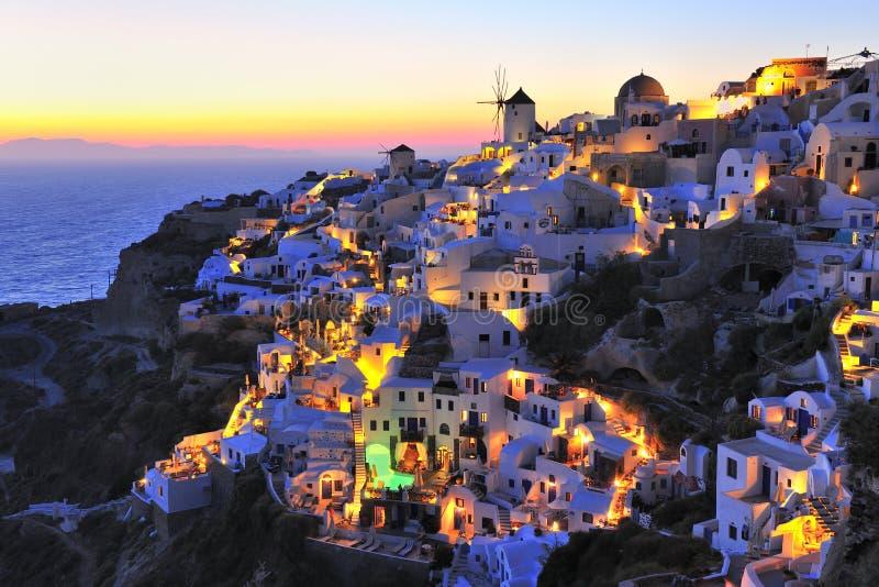 在Santorini海岛的日落 免版税图库摄影