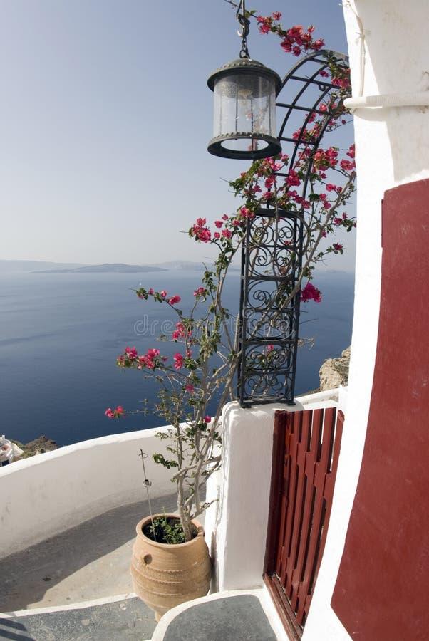 在santorini海运视图 库存图片