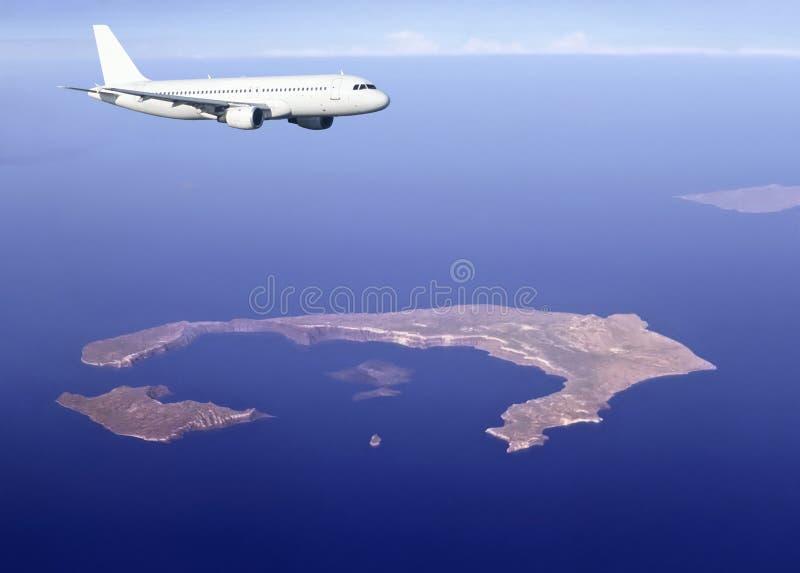 在santorini的空中巴士海岛 库存照片