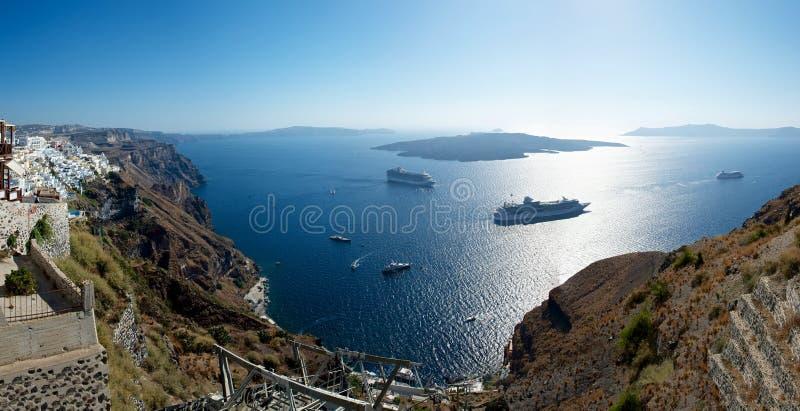 破火山口。 Santorini。 库存图片