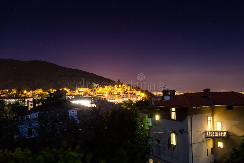 在seaNight场面的Åžunset在Istria -克罗地亚 免版税库存图片
