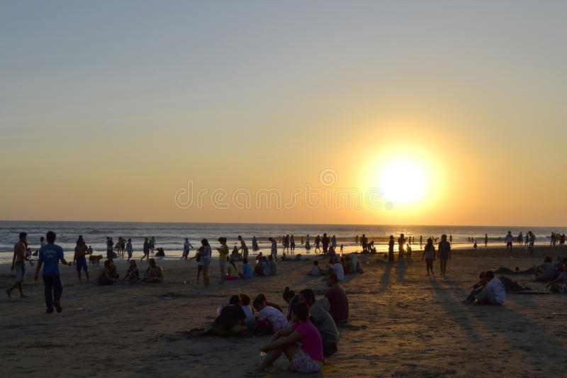 在Seminyak海滩的日落视图 库存图片
