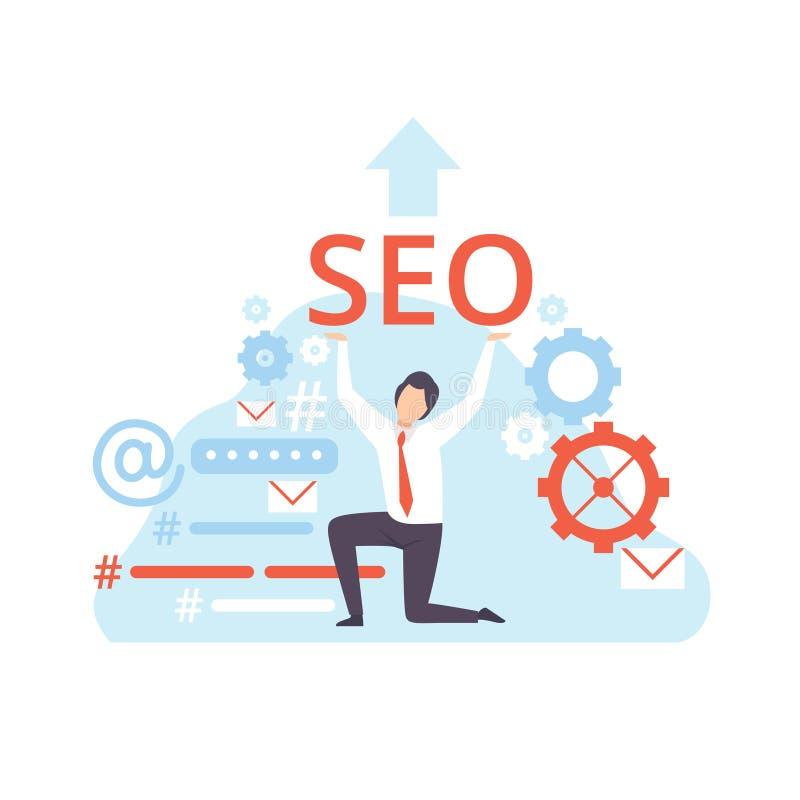 在SEO优化,数量概念,社会媒介销售的传染媒介例证的商人工作 库存例证