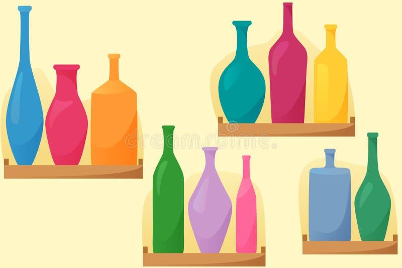 在shelfs,与瓶的无缝的样式,平的样式装饰,传染媒介的明亮的瓶 向量例证