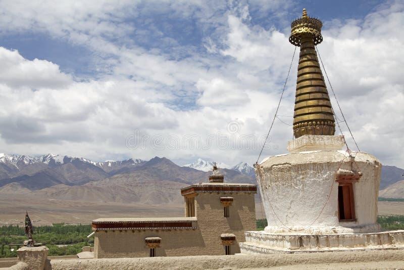 在Shey修道院的Stupa,拉达克,印度 免版税图库摄影