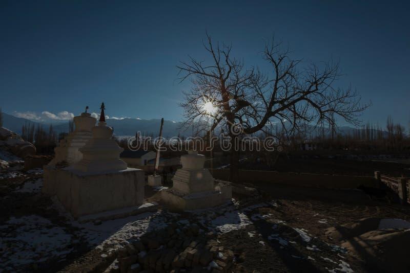 在Shey宫殿, Leh的等待的日落 库存图片