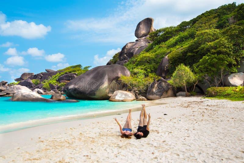 在similan海岛的愉快的时间 免版税图库摄影