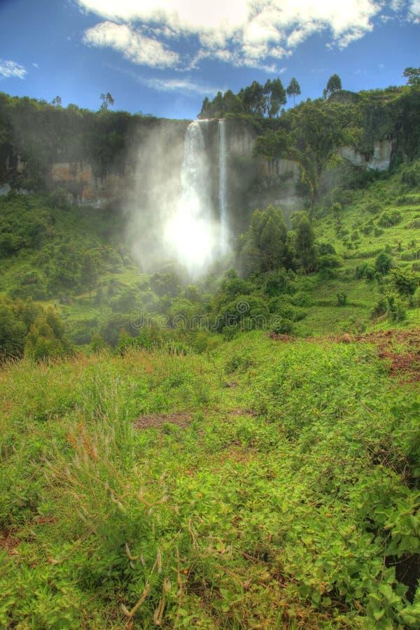 在Sipi秋天的惊人的瀑布,乌干达,非洲 图库摄影