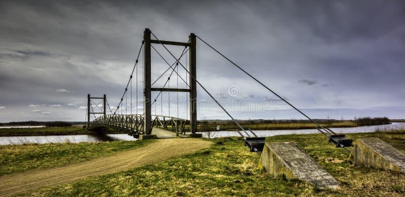 在Skjern,丹麦附近的汉斯国王桥梁 免版税库存照片