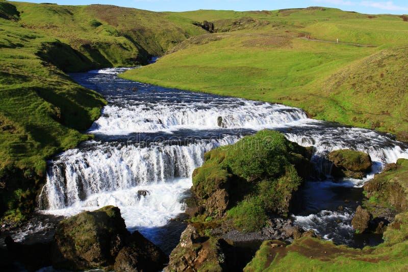 在skogafoss瀑布,冰岛附近的乡下 库存照片